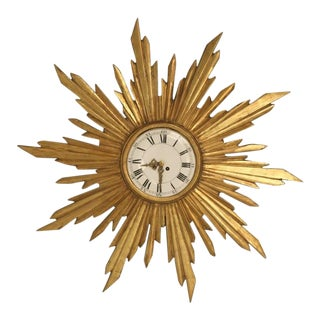 French Water Gilded Sunburst Clock, circa 1890