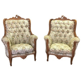 Antique Solid Rosewood Armchairs - a Pair