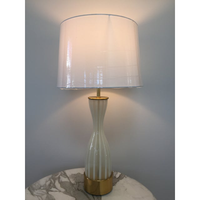 Italian Modern Glass and Brass Table Lamp - Image 2 of 8