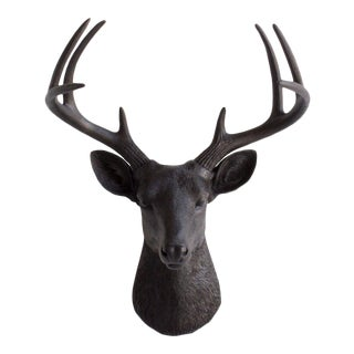 Black Faux Mini Deer Mount Head Bust by Wall Charmers