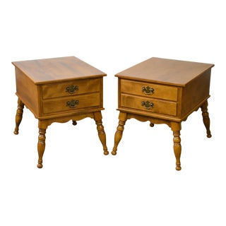 Ethan Allen Solid Maple Nutmeg Finish Colonial Style End Tables