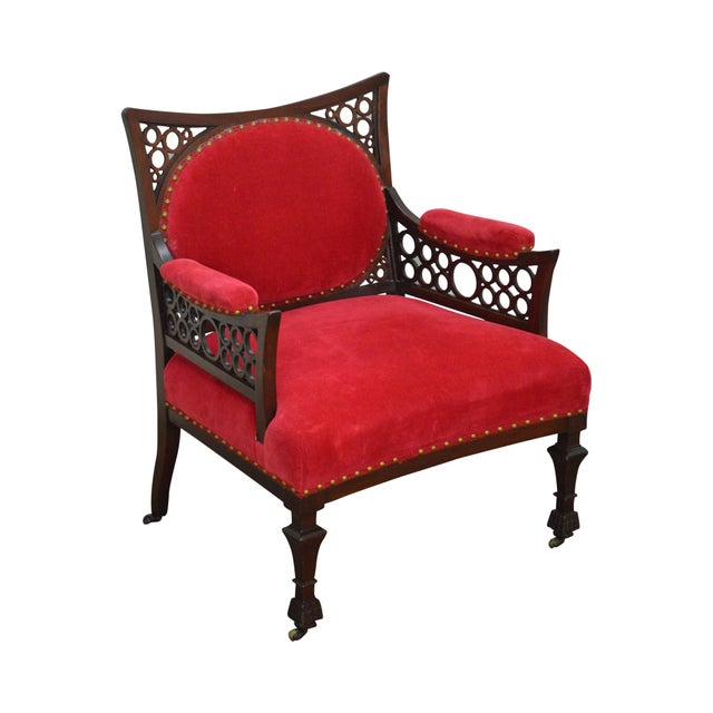 Antique 19th Century Aesthetic Mahogany Arm Chair (possibly Herter Brothers) - Image 11 of 11