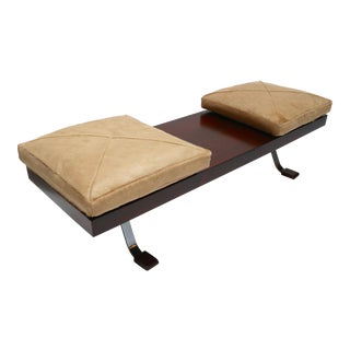 Vintage Brazilian Jacaranda Bench with Cowhide Cushions