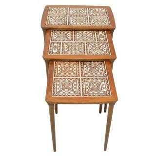 Danish Tile Top Nesting Tables - Set of 3