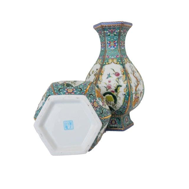 Famille Blue Floral Porcelain Vases - A Pair - Image 7 of 7