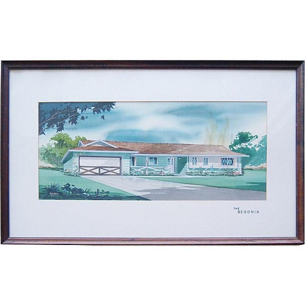 Image of 1950s Architectural Watercolor by Bill Maurer