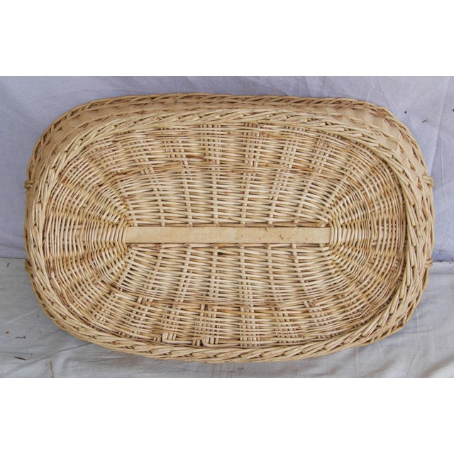 Vintage French Oval Wicker Market Basket - Image 9 of 10