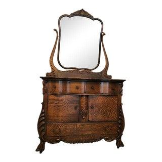 Victorian Tiger Oak Wood Dresser & Swivel Mirror