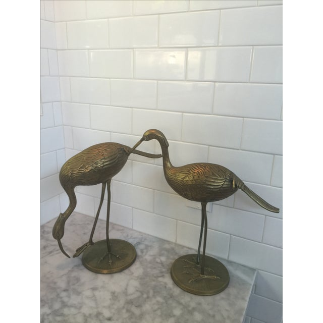 Mid-Century Large Brass Cranes - Pair - Image 2 of 10