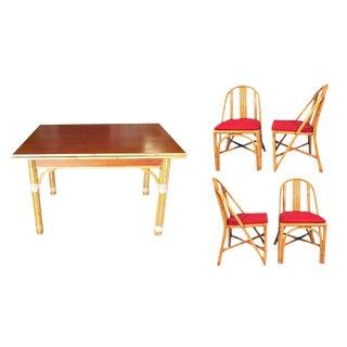 Restored Mid-Century Rattan and Mahogany Dining Set