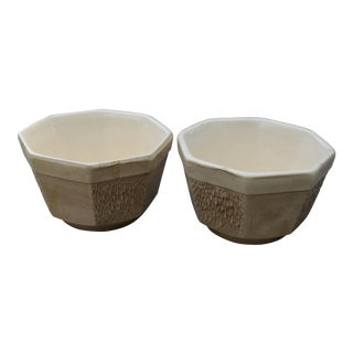 Pair of McCoy Floraline Textured Pottery Planters