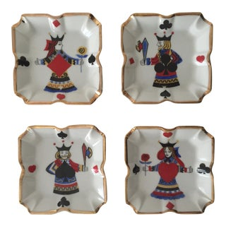 Japanese Mid-Century Ceramic Poker Ashtrays - Set of 4
