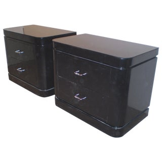 Vintage Black Lacquer Modern Nightstands - A Pair