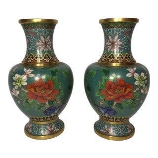 Chinese Green Enamel Cloisonné Vases - A Pair