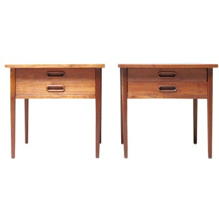 Mid-Century Modern Walnut Side Tables - A Pair