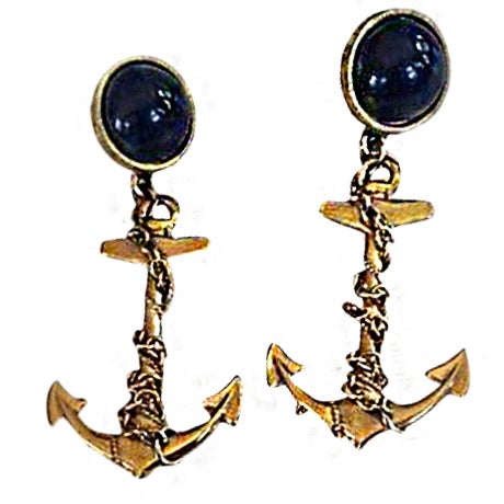 Image of Chain Wrapped Nautical Anchor Earrings