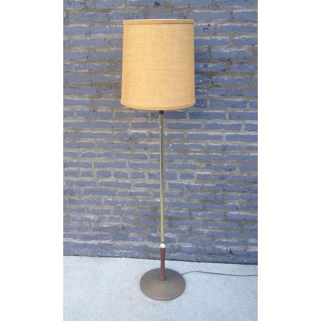 Image of Mid Century Brass Floor Lamp w/Wood Accent