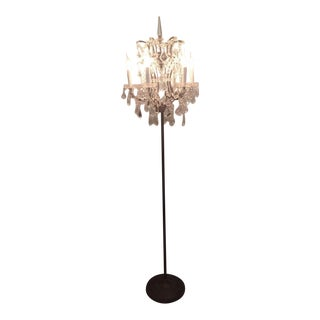 Restoration Hardware Rococo Style Clear Crystal & Iron Floor Lamp