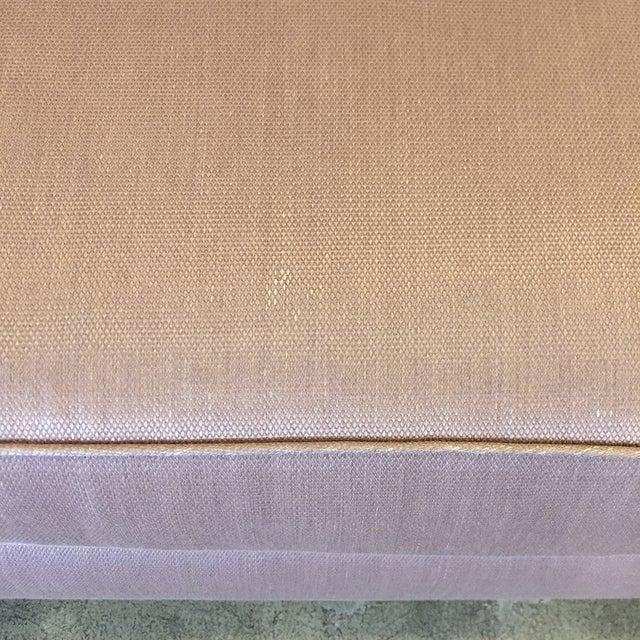 Custom Mauve Linen Designer Sofa with Pillows - Image 6 of 11