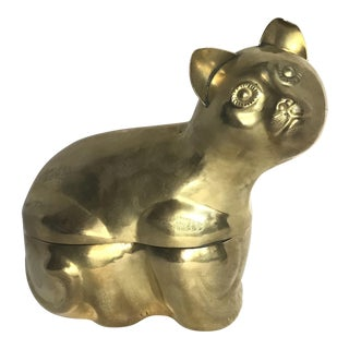 Brass Cat Figural Box