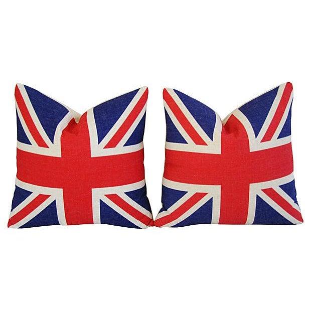 British Union Jack Linen Pillows - A Pair - Image 7 of 7
