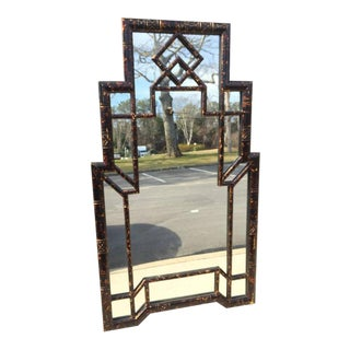 Skyscraper Chinoiserie Style Mirror with Tortoise Shell Finish
