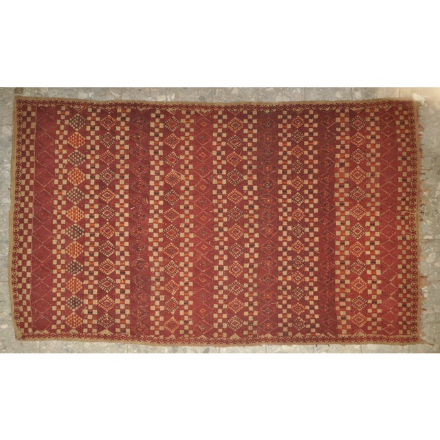 "Vintage Moroccan Wool Straw Rug - 5'10"" x 8'10"" - Image 2 of 4"