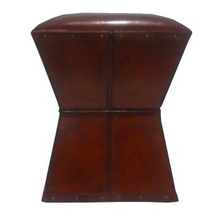 Brown Leather Side End Table