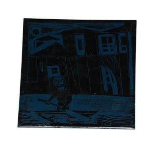 1960s Abstract Mid-Century Black Tile