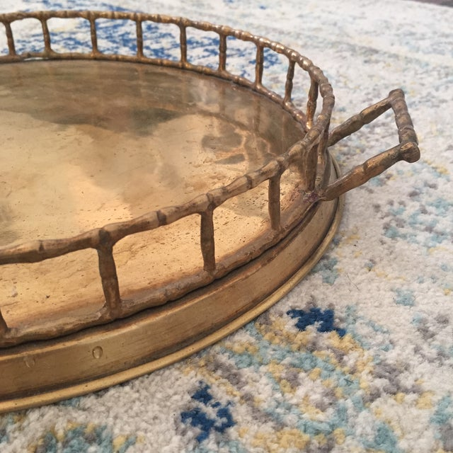 Brass Faux Bamboo Chinoiserie Tray - Image 5 of 9