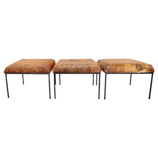 Iron & Hide Ottomans - Set of 3