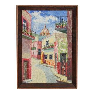 Antique Original Street Scene Signed Oil Painting on Canvas