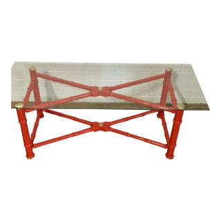 Red Lacquered Faux Bamboo Coffee Table