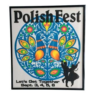 """Folk Art """"Polish Fest"""" Framed Screen Print"""