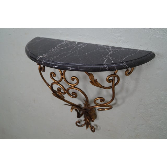 Image of Italian Gilt Metal Marble Top Demilune Console