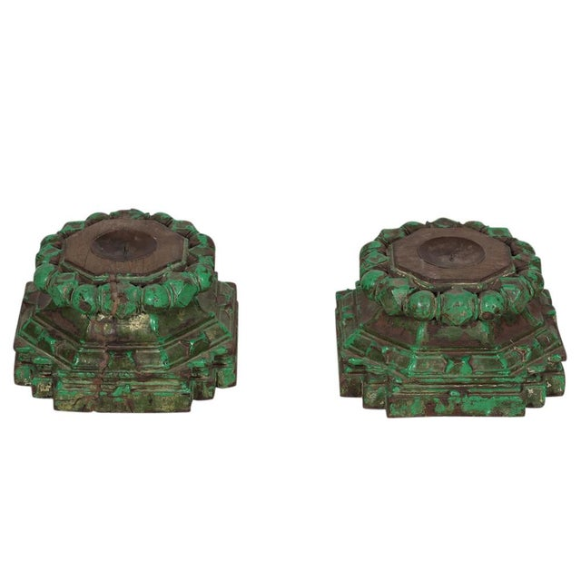 Image of Hand-Chiseled Green Candleholders - A Pair
