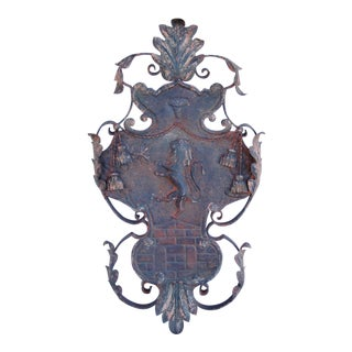 Large Scrolling Architectural Lion Wall Plaque