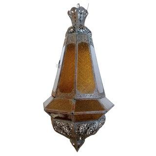 Vintage Amber Glass Moroccan Lantern