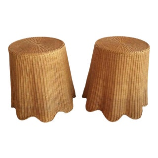 Vintage Tropical Draped Wicker Rattan Side Tables - A Pair