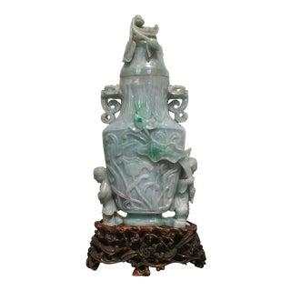 Large Chinese Republic Period Covered Jadeite Vase