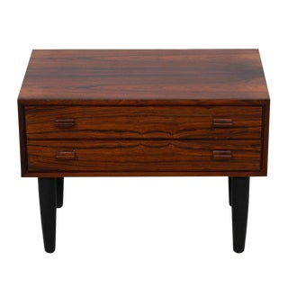 Petite Danish Modern 2-Drawer Rosewood Nightstand Accent Table