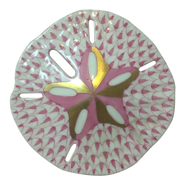 Herend Pink & Gold Sand Dollar - Image 1 of 4