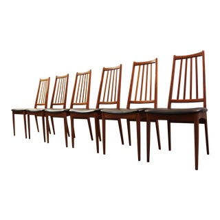 Danish Modern Teak Spindle Back Dining Chairs - Set of 6