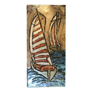Vintage Painted Clay Sailboat Relief Artwork