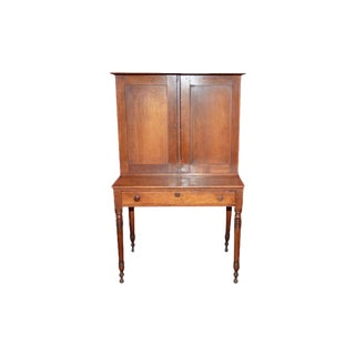 Antique Writing Desk With Hutch Cabinet