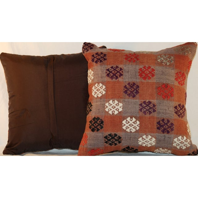 Vintage Handmade Kilim Pillows - a Pair - Image 5 of 7