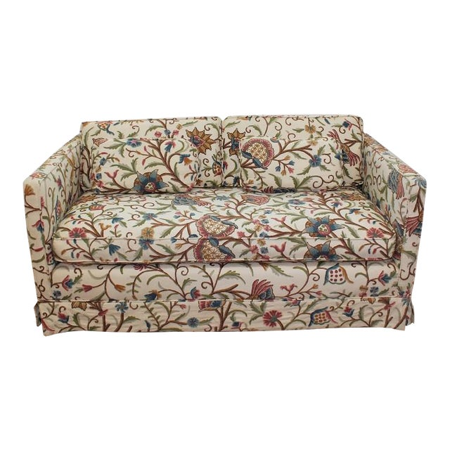 Mid-Century Modern Floral Sofa Settee - Image 1 of 10