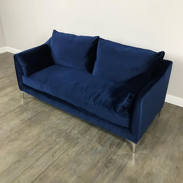 Royal Blue Velvet Sofa - Image 3 of 11