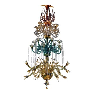 "Monumental Four Elements Venetian Glass Chandelier, ""Earth, Water, Air and Fire"""