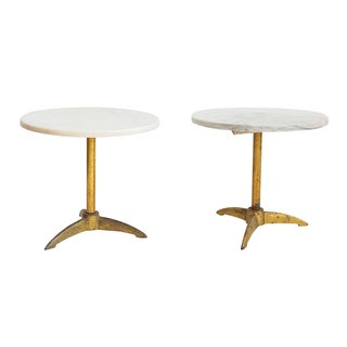 Marble Brass Side Tables - Pair